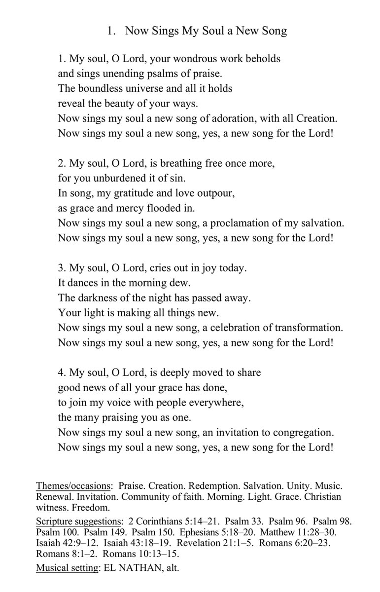 Readers Edition page with lyrics and suggested themes and Bible verses for Now Sings My Soul a New Song