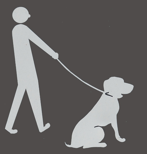 Sign showing a man with a dog on a leash