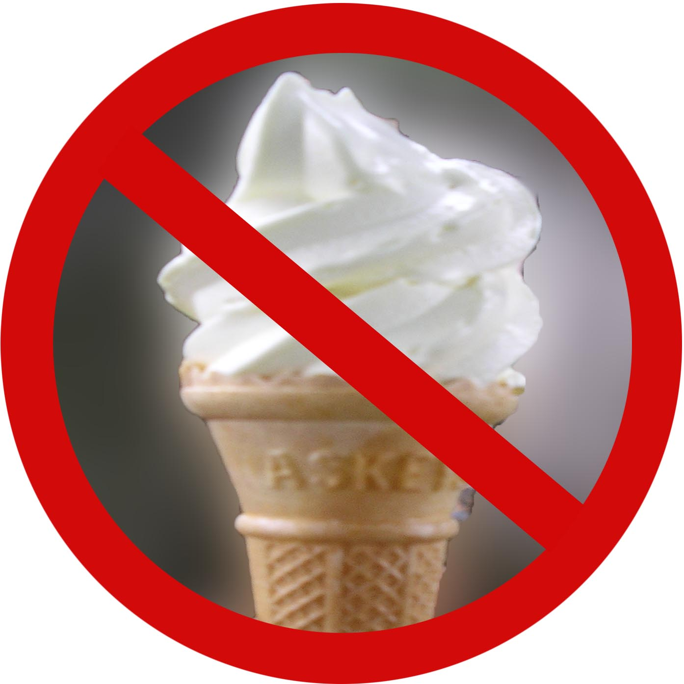 Photo of prohibited ice cream cone